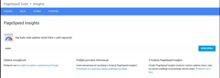 Preverjanje hitrosti spletne strani Z Google Page Insights.